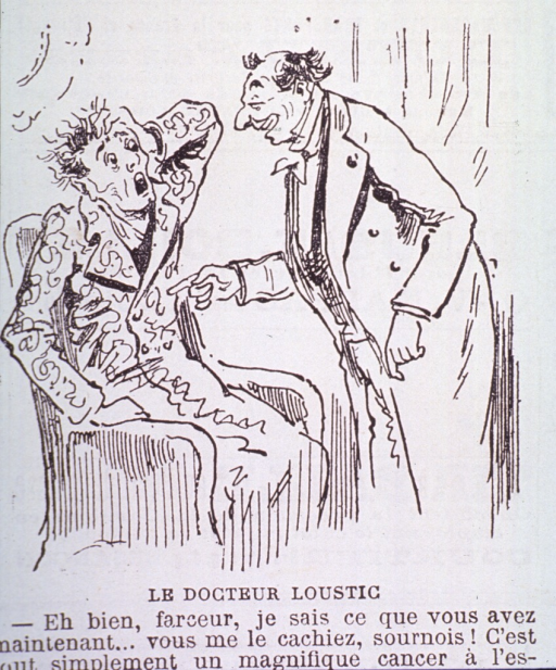 <p>Caricature:  A physician, in a rather casual manner, is telling his patient that he has stomach cancer.  The patient, sitting in a chair, is horrified at the news.</p>