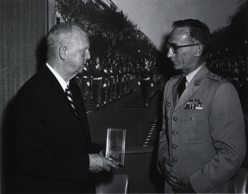 <p>Half-length, right profile.  Showing Lt. General William W. Dick, Jr., presenting the Outstanding Civilian Service Medal to Dr. Bayne-Jones on June 29, 1965.</p>