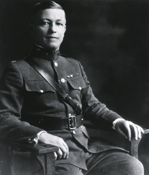 <p>Three-quarter length, seated, right pose, full face; wearing uniform (Major).</p>