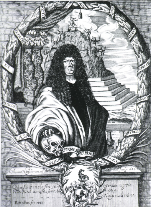 <p>Figure standing, hand on skull; coat-of-arms.</p>