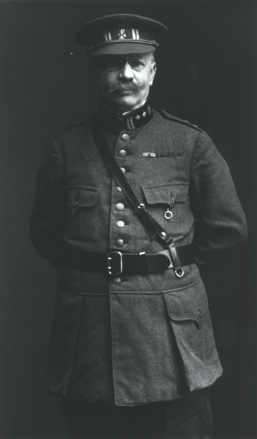 <p>Standing, three quarter length; front; arms behind back.  In uniform and cap (German).</p>