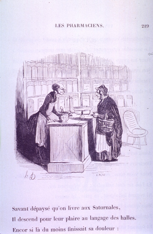 <p>An old woman stands at the counter in a pharmacy talking to the old pharmacist.</p>