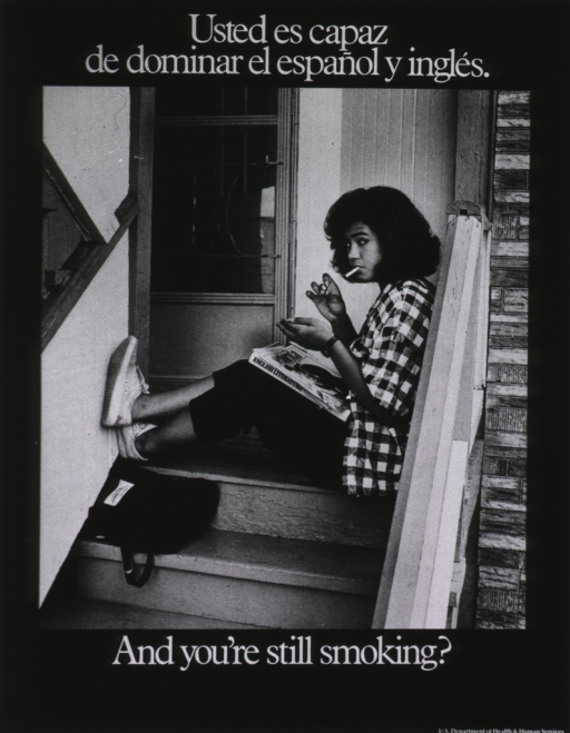 <p>A teenage girl, a cigarette in her mouth, sits on a front porch and stares at the camera as she strikes a match; an English literature book is propped on her lap.</p>