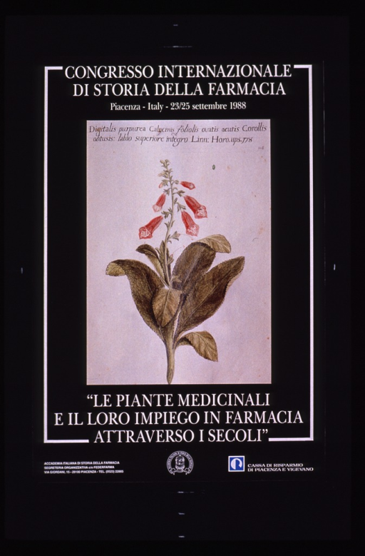 <p>Predominantly gray poster with white and black lettering.  Congress information at top of poster.  Visual image appears to be a reproduction of a book plate or illustration featuring a digitalis plant.  Title below image.  Publisher and sponsor information at bottom of poster.</p>