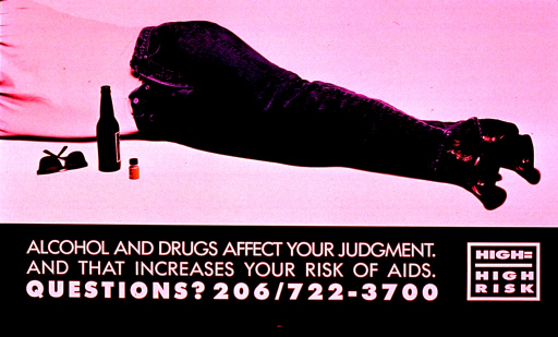 <p>Predominantly black and white poster with white lettering.  Visual image is a color photo reproduction featuring the torso and legs of a person lying on its side.  The person's jeans are unbuttoned; a pair of sunglasses, a beer bottle, and another small bottle sit in front of the person, in easy reach.  Title and note text at bottom of poster, along with an alcohol and drug hotline number for the Seattle, Wash. area.</p>