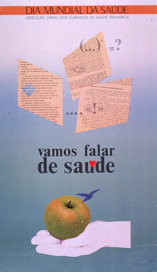 <p>Predominantly light green poster with black and green lettering.  Initial title phrase at top of poster.  Publisher information below title.  Visual images include blocks of text, suggestive of news clippings, with punctuation marks superimposed on them; a photo reproduction featuring an apple; and an illustration of an outstretched hand.  The apple rests on the hand.  Remaining title text in center of poster.</p>
