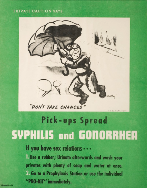 <p>Predominantly green poster with black and white lettering. Visual image is a drawing of a soldier jumping out of a plane using an umbrella as a parachute. Caption begins above image and ends below image. Title below image. Notes below title.</p>