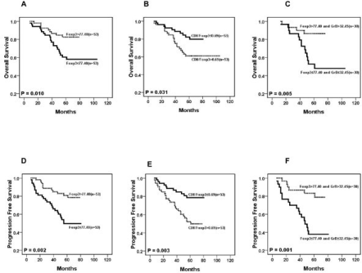 Results of survival rate with immunohistochemical variables. Individually, the number of Foxp3+ cells (A and D), the ratio of CD8+TIL to Foxp3+ TIL (B and E) and Foxp3 together with GrB+ cells (C and F) are significantly associated with the overall survival (OS, P < 0.005) and progression-free survival (PFS, P < 0.005) in NPC patients.