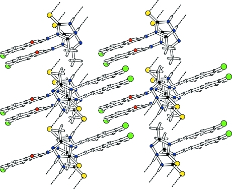 Part of the crystal structure of (I) showing the formation of the two-dimensional network. Hydrogen bonds are shown as dashed lines.