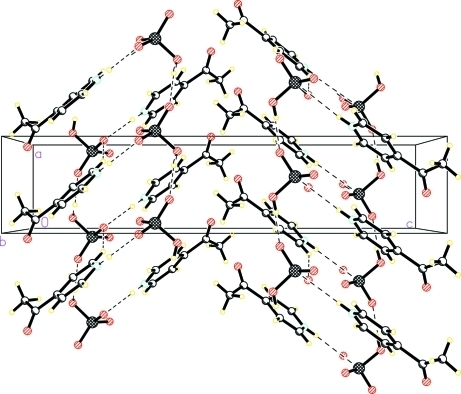 Crystal packing of the title compound, stacking along the b axis. Dashed lines indicate hydrogen bonds.