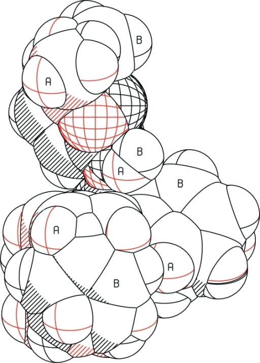 A best fit of molecules (A) and (B) with atoms drawn as their van der Waals spheres.