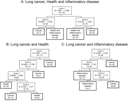 Decision tree algorithms from three different training protocols. (A) Serum samples of individuals with lung cancer and inflammatory disease, and healthy controls. (B) Serum samples of individuals with lung cancer and healthy controls. (C) Serum samples of individuals with lung cancer and inflammatory disease.