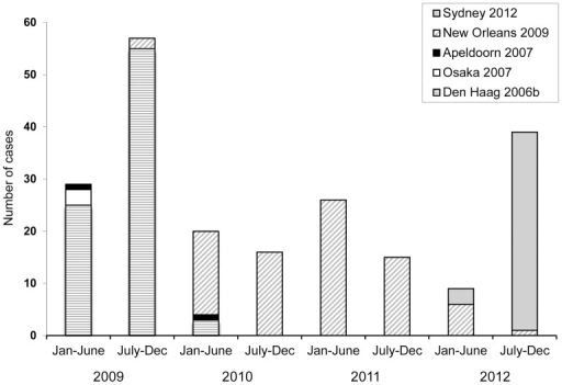 Circulation of genogroup II genotype 4 norovirus variants (GII.4).Six-monthly distribution of GII.4 variants, according to the capsid gene, detected in Gipuzkoa (Basque Country, Spain), 2009–2012.