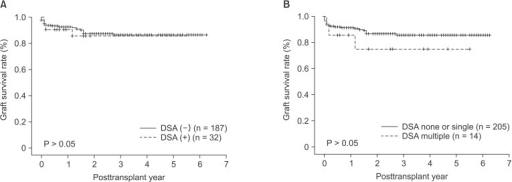 Graft survival rates according to the presence of donor-specific antibodies. (A) No difference in graft survival rates was found between the DSA (-) and (+) groups. (B) However, patients with multiple DSAs had a lower graft survival rate than patients in none or single DSA group. DSA, donor-specific antibody.