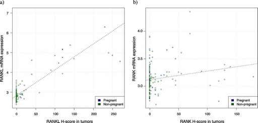 Correlation between RANK and RANKL H-score and mRNA levels. (a) Positive correlation between RANKL mRNA expression (y axis) and RANKL H-score by immunohistochemistry (x axis) (P <0.0001, Pearson correlation = 0.89). (b) Positive correlation between RANK mRNA expression (y axis) and RANK H-score by immunohistochemistry (x axis) (P = 0.01, Pearson correlation = 0.19). RANK, receptor activator for nuclear factor κB; RANKL, receptor activator for nuclear factor κB ligand.