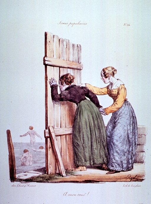 <p>Caricature:  A woman is peeking through a knothole in a fence watching naked men swimming; a second woman anxiously awaits her turn to look.</p>
