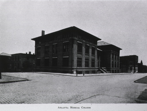 <p>Black and white photograph reproduction of an exterior view of the Atlanta Medical College.</p>