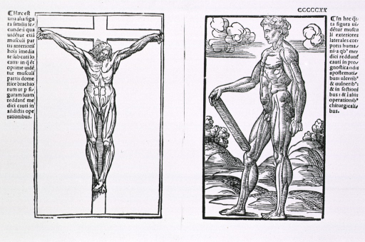 <p>Full length view of male figure with musculature defined, visual motif is a crucifixion; on l. cccccxx recto is a male figure standing in left profile.</p>