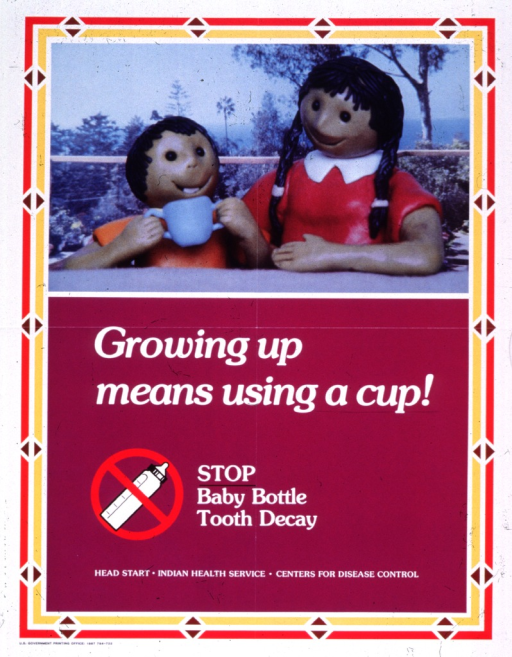 <p>Predominantly purple poster with white lettering.  Visual image at top of poster is a reproduction of a color photo featuring an infant and a woman.  The figures appear to be made from plastic or clay.  The infant holds a two-handled cup.  Title below photo.  Note below title, along with an illustration of a baby bottle with a red &quot;do not&quot; sign.  Publisher and two supporting agencies listed below note.</p>