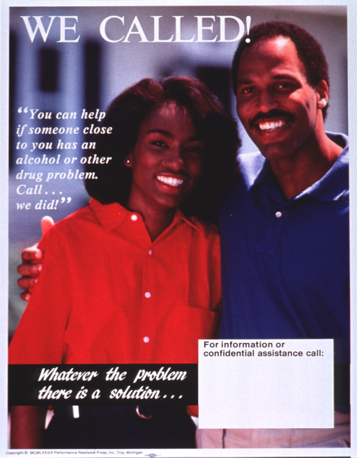 <p>Multicolor poster with white and black lettering.  Title at top of poster.  Entire poster is a reproduction of a color photo showing a man and woman standing close together.  The man has his arm around the woman's shoulder and they both smile.  Caption on left side of poster below title.  Note below caption.  Space for contact information near bottom of poster, though none given.  Publisher information at bottom of poster.</p>