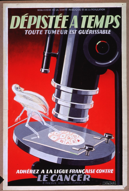 <p>Predominantly red poster with multicolor lettering.  Publisher information at top of poster.  Title below publisher information.  Visual image is the reporduction of a painting of a microscope, with a slide of cells in place to be viewed.  A ghostly figure rises from the slide and looks back at the microscope.  Caption at bottom of poster.  Notation in lower right corner indicates that the painting is a preliminary draft.</p>