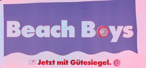<p>White and aqua poster with multicolor lettering.  Title dominates poster.  Visual images are illustrations of fresh condoms, two of which replace the letter &quot;o&quot; in text and one that is used as a logo.  Notes below title encourage stopping AIDS and announce that condoms now come with a seal of approval.  Publisher information on right edge of poster.</p>