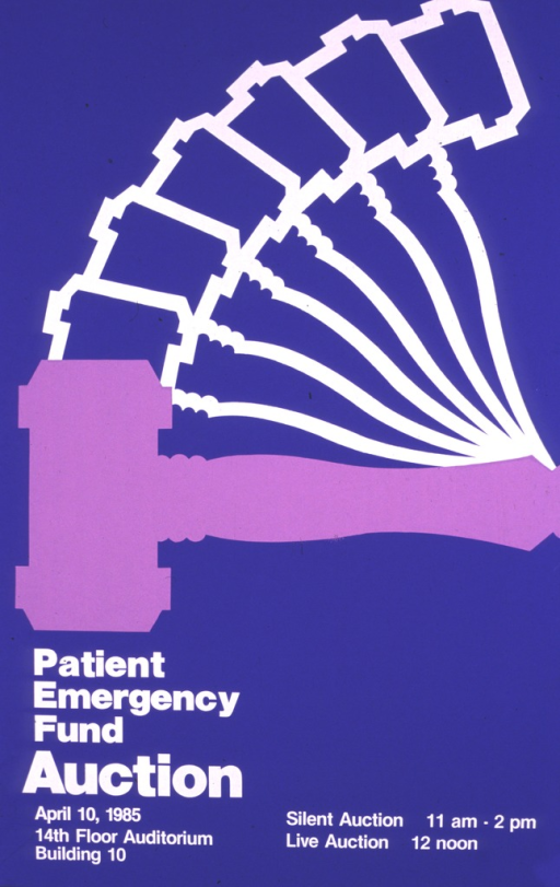 <p>Blue poster showing a light purple gavel moving through the air. The poster gives information for the live and silent auctions to be held on April 10, 1985.</p>