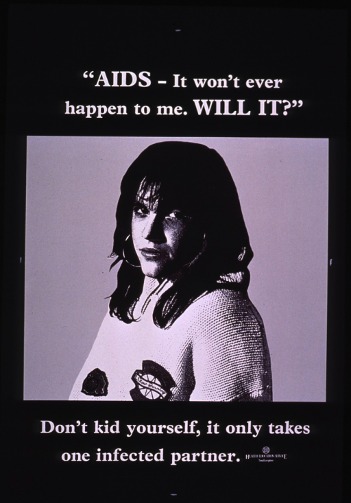 <p>Black and white poster, illustrated with a photograph of a woman who stares glumly at the camera.  A patch on her sweater reads &quot;Slow Burning.&quot;</p>