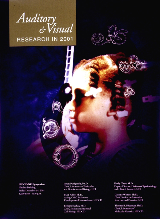 <p>Predominantly blue poster with white lettering announcing a symposium, Dec. 2001.  Title in upper left corner.  Visual image is a color photo reproduction featuring a young girl receiving an eye exam.  Line drawings of eye and ear anatomy are superimposed on the photo.  Symposium information and participant list at bottom of poster.</p>