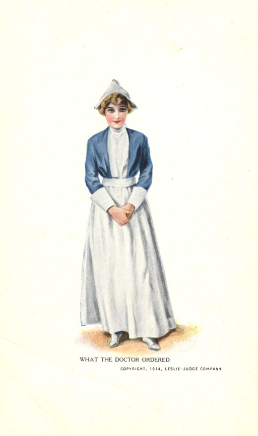 <p>Postcard featuring a color illustration of a nurse in her uniform. She is wearing a white dress, a blue jacket, and a head covering. Her hands are folded in front.</p>