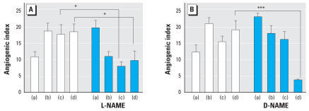 Effects of L-NAME (A ) and D-NAME (B ) on angiogenic index. HAEC were treated as follows: (a) no treatment, (b) a mixture of growth factors as a positive control, (c) roxarsone (0.1 μM), and (d) AsIII (0.1 μM). Open bars represent cells with no NAME; blue bars represent cells treated with different isomers of NAME (50 μM). In each case, 12 wells were investigated, and each well was imaged at five different fields. Angiogenic index ± SD is plotted in each case.*p < 0.05 and ***p < 0.001 determined from two-way ANOVA analysis, followed by the Bonferroni post-test.