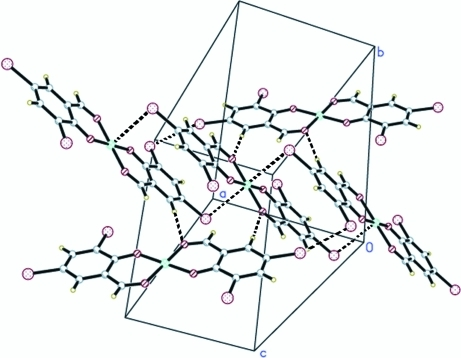 Part of the packing of (I) showing the three-dimensional network; broken lines indicate short Br···Br and M···Br contacts and C–H···O hydrogen bonds.