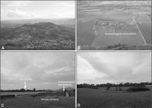 Photographs of the study site.[A] Corent plateau looking to the south (photo: B. Dousteyssier, 2014). [B] Aerial photograph looking northwest across the archaeological excavations and the Lac du Puy (photo: B. Dousteyssier, 2014). [C] View north across the plateau towards the Lac du Puy. Visible in the foreground are the excavated remains of a Gallo-Roman temple (photo: P.M. Ledger, July 2014). [D] View north across the Lac du Puy (photo: P.M. Ledger, July 2014).