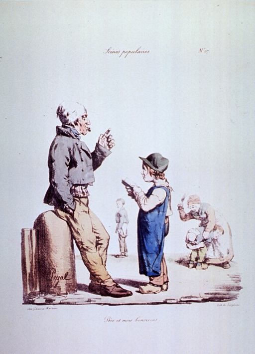 <p>Caricature:  A boy, reciting from an open book, stands before his father; in the background, a child is being whipped by a woman, perhaps as punishment for failing his lessons; and another child, treated likewise, walks away pulling up his pants.</p>