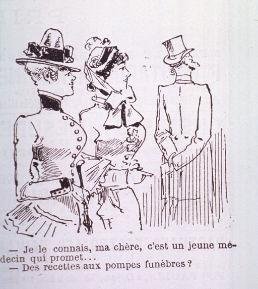 <p>Caricature:  Two fashionably dressed women comment on a physician whose back is turned to them.</p>