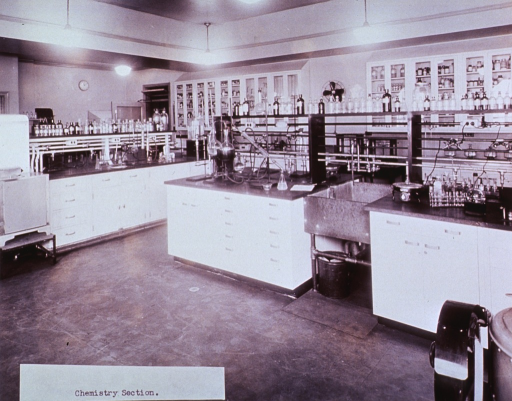 <p>Interior view: laboratory benches and tables with gas outlets, chemical apparatus on stands, and glass containers on shelves and in cabinets are shown.</p>