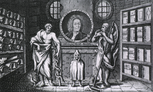 <p>Print shows interior with three figures; two symbolical, and one of child; bust of Horch in medallion on wall.</p>