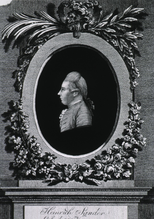 <p>Head and shoulders, left profile, on black ground; floral decorations around oval, on base.</p>