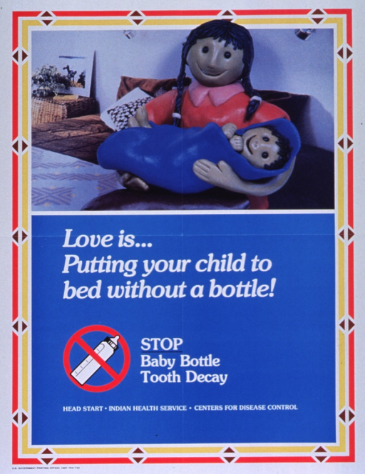 <p>Predominantly blue poster with white lettering.  Visual image at top of poster is a reproduction of a color photo showing a mother holding her baby.  The baby is wrapped in a blanket.  The figures appear to be made of plastic or clay.  Title below photo.  Note below title, along with an illustration of a baby bottle with a red &quot;do not&quot; sign.  Publisher and two supporting agencies listed below note.</p>