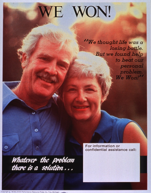 <p>Multicolor poster with black and white lettering.  Title at top of poster.  Entire poster is a reproduction of a color photo showing a man and woman standing close together.  The man has his arm around the woman's shoulder and they are both smiling.  Caption on right side of poster below title.  Note near lower left corner.  Space for contact information near bottom of poster, though none given.  Publisher information at bottom of poster.</p>