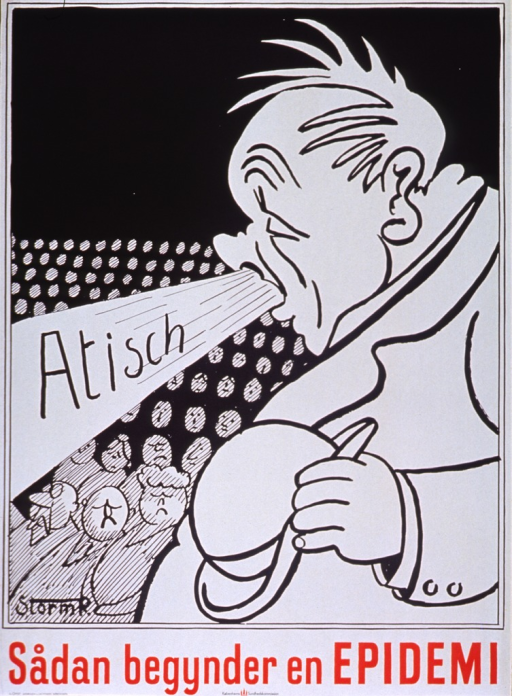 <p>Predominantly black and white poster with black and red lettering.  Visual image is a cartoon-style illustration of a man sneezing.  He does not cover his mouth as he spits out the initial title word.  He is among a crowd of people.  Remaining title text below illustration.  Publisher information at bottom of poster.</p>