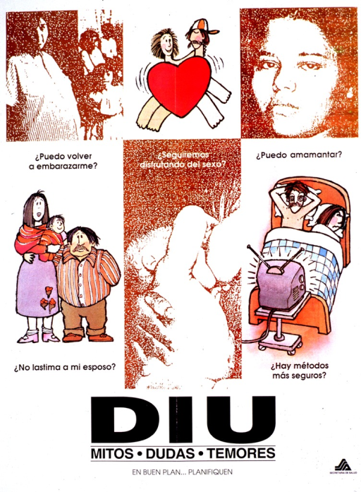 <p>Predominantly white poster with black lettering. The poster is a mix of six illustrations and photo reproductions, some with captions. Some of the images show a pregnant woman, the face of a young woman, and a nursing baby. The title and subtitle are near the bottom, and a logo is in the bottom right-hand corner.</p>