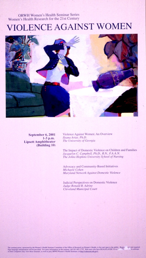 <p>Pale lavender poster with dark blue lettering announcing a seminar, Sept. 2001.  Series statement and title at top of poster.  Visual image is a reproduction of a slightly abstract painting in which a woman raises her hands to shield herself.  There is a vase on a table that she apparently bumped causing the vase to topple over.  Seminar information and presentation titles below painting.  Sponsor information at bottom of poster.</p>