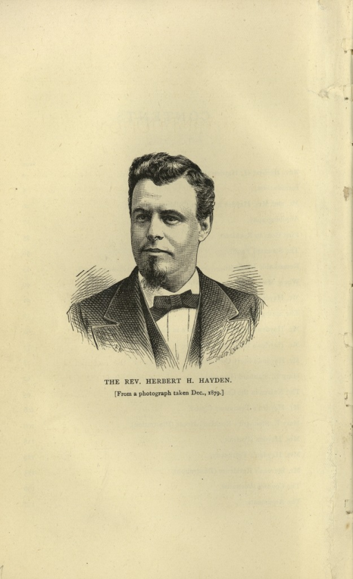<p>Image of a pamphlet page with a three-quarter portrait of the Reverend Herbert H. Hayden dressed in a suit and bow tie. Engraving by Photo Eng. Co., N.Y.</p>