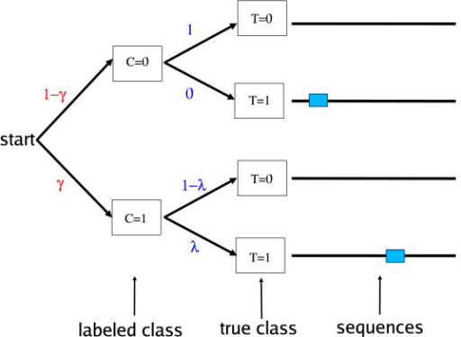 The DEME data model. Labels on arcs show the probabilities of choosing the labelled class, C, of a sequence, and the true class, T. When T = 0, sequences are generated using just the background model, θB. When T = 1, sequences contain a motif site, generated by motif model θM, inserted in random sequence generated by θB.