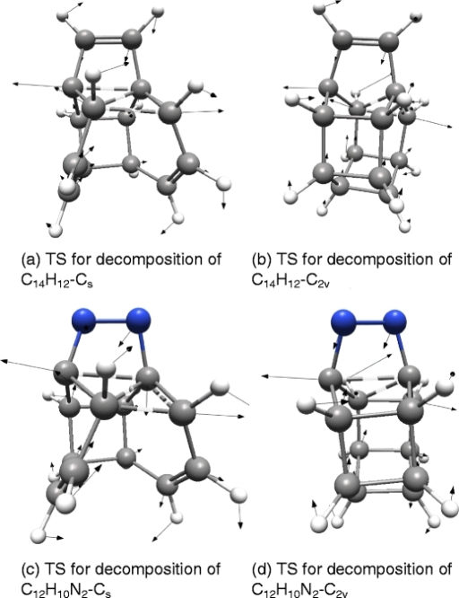 Transition states for decomposition of the new Cs and C2v isomers of C14H12 and C12H10N2, respectively, together with arrows showing the motion of the atoms in the imaginary vibrational mode