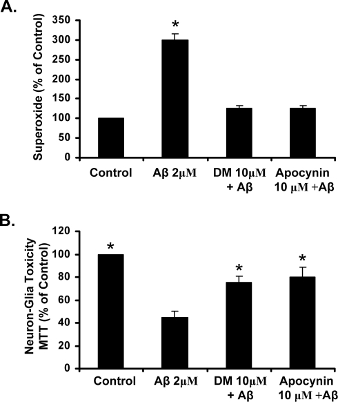 Apocynin reduces NADPH oxidase activation and is neuroprotective in vitro.(A) Enriched microglia cultures were treated with media alone (Control), apocynin (10 µM), Dextromethorphan (DM, 10 µM), Aβ (2 µM), Apocynin + Aβ, and DM + Aβ. The production of extracellular superoxide was measured by the superoxide dismutase (SOD)-inhibitable reduction of tetrazolium salt, WST-1 at 30 minutes post-treatment. Results are mean ± SEM. Data are from four separate experiments. *p<0.05, compared with control cultures. (B) Apocynin and DM protect against Aβ-induced toxicity in cortical neuron-glia cultures.) Cortical neuron-glia cultures were treated with media alone (Control), Apocynin (10 µM), Dextromethorphan (DM, 10 µM), Aβ (2 µM), Apocynin + Aβ, and DM + Aβ. Toxicity was assessed by MTT 7 days later. Graphs show the results expressed as percentage of the control cultures and are the mean ± SEM from three independent experiments in triplicate. * p<0.05, control compared to treatment.