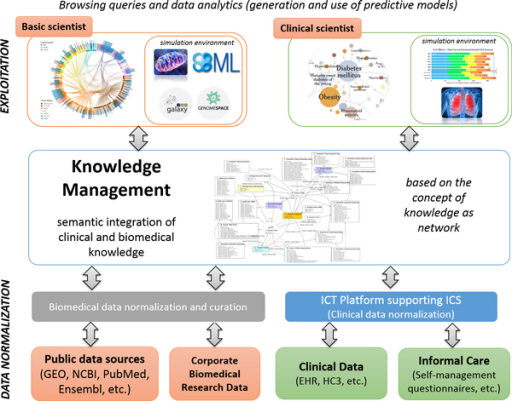 DHF-research components and functionalities include semi-automatic data standardization approaches, data integration and knowledge management, profile-specific visual data mining portals and user-profiled simulation environments (see text for further details).