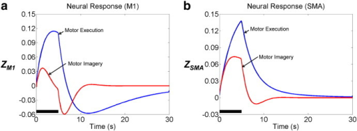 Estimated neural responses (z). During motor imagery, neural activity in primary motor cortex (M1) is significantly reduced, while neural activity in supplementary motor area (SMA) is relatively consistent, compared with activity during motor execution. The solid black line indicates the task period (5 s).