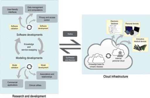 An interdisciplinary cloud-based model to implement personalized medicine. The consecutive knowledge and service swapping between modeling and software experts in research and development units is essential for the management, integration, and analysis of omics data. Thorough software and model development will derive updates upon knowledge bases for complex diseases, in addition to clinical utilities, commercial applications, privacy and access control, user-friendly interfaces, and advanced software for fast computations within the cloud. This translates into personalized medicine via personal clouds that upload wellness indices into personal devices, electronic databases for health professionals, and innovative medical devices